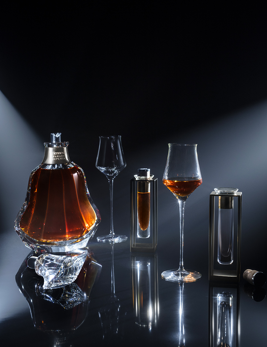 The rare Hennessy Paradis Imperial cognac blend is best tasted and enjoyed neat, at room temperature, in a tulip-shaped crystal glass.